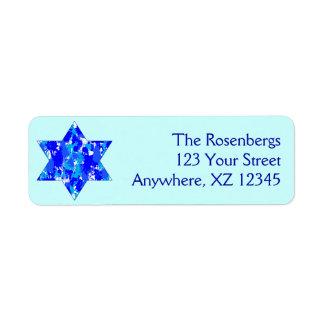 Pinte la estrella judía de la salpicadura etiquetas de remite
