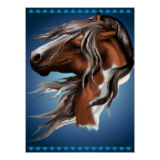 Pinte la impresión de la cara del caballo poster
