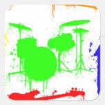 Pinte la pintada de la banda de los instrumentos pegatinas cuadradas personalizadas