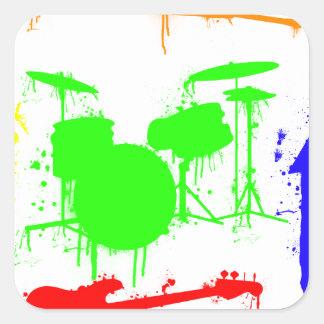 Pinte la pintada de la banda de los instrumentos pegatina cuadrada