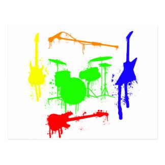 Pinte la pintada de la banda de los instrumentos tarjeta postal