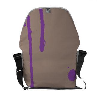 Pinte la salpicadura salpicadura gris y púrpura bolsas de mensajeria