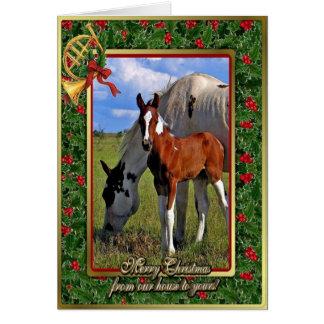 Pinte la yegua del caballo y para tarjeta de Navid
