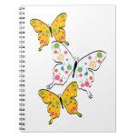 Pinte las mariposas de la salpicadura libro de apuntes con espiral