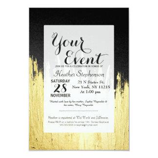 """Pinte los movimientos en falso oro en negro invitación 3.5"""" x 5"""""""