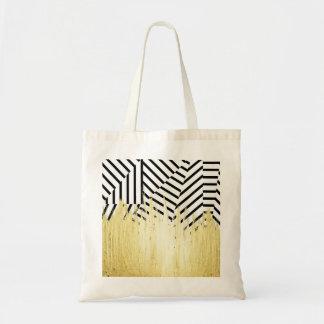Pinte los movimientos en falso oro en raya negra y bolsa tela barata