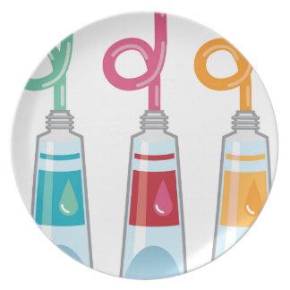 Pinte los tubos platos