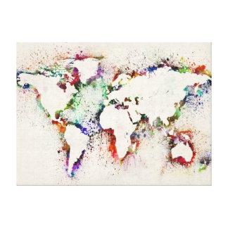 Pinte salpica la correspondencia de texto del mund impresiones en lienzo estiradas