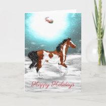 Pinto Arabian Horse Christmas Holiday Card