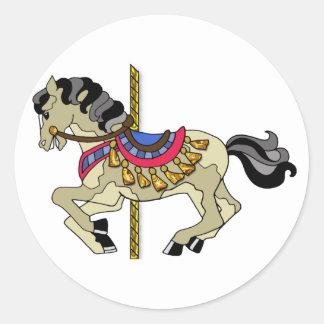 Pinto Carousel Horse Round Sticker