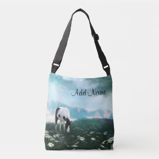 Pinto horse in daisies crossbody bag