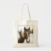 Pinto Horse in Winter Tote Bag
