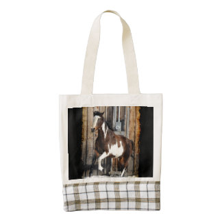 Pinto Horse On The Run Zazzle HEART Tote Bag