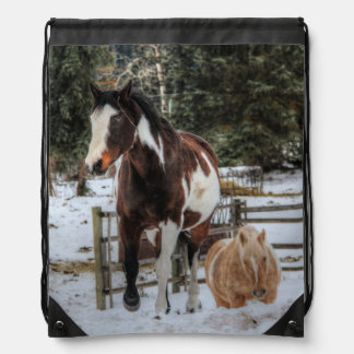 Pinto Horses in the Snow Drawstring Backpack