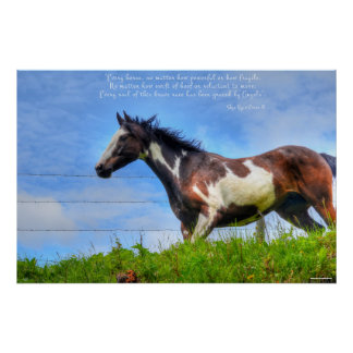 Pinto Paint & Clouds Ranch Horse w Poem Photo Poster