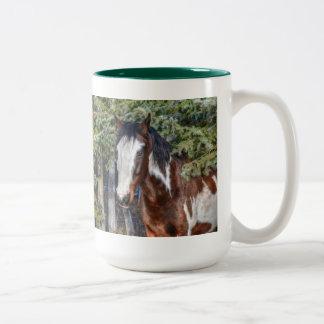 Pinto Paint Stallion & Evergreen Trees Two-Tone Coffee Mug