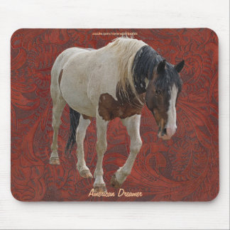 Pinto Painted Horse on Tooled Leather BG Mousepad