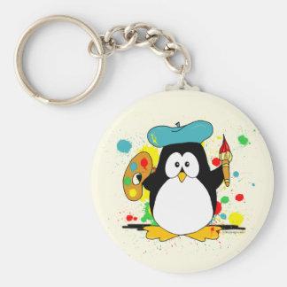Pintor artístico del pingüino llavero redondo tipo pin