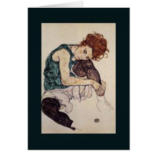 Pintor austríaco asentado 1917 de Egon Schiele de  Tarjeta De Felicitación