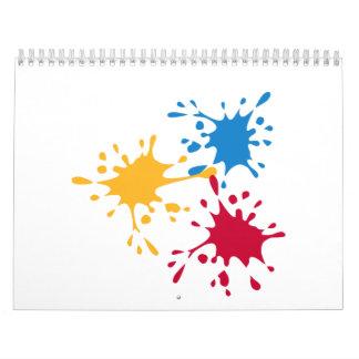 Pintor coloreado del chapoteo calendarios