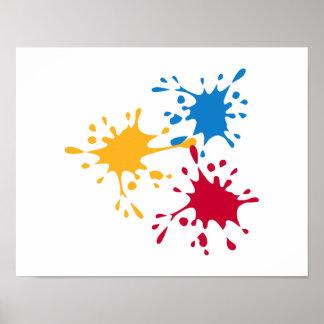 Pintor coloreado del chapoteo póster