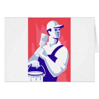 Pintor con la brocha tarjeta de felicitación