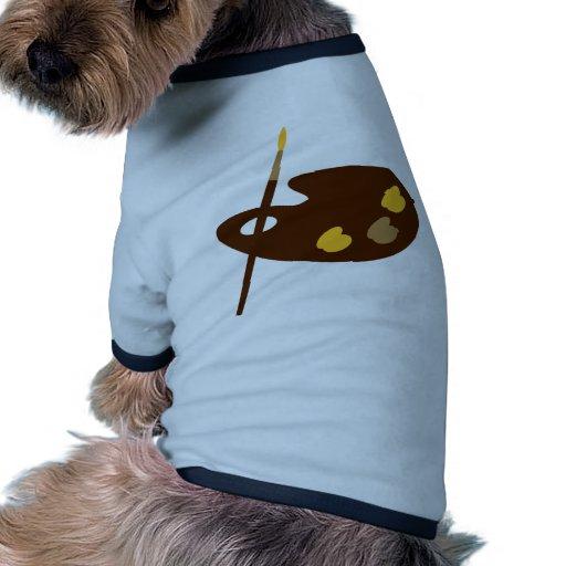Pintor de la paleta de colores camisa de perro
