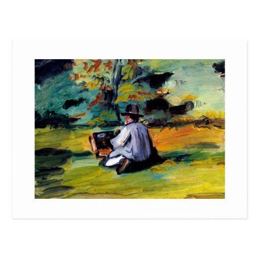 Pintor en el arte impresionista Paul Cezanne del t Tarjetas Postales