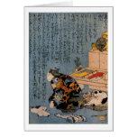 Pintor que tiene gusto de gatos, Utagawa Kuniyoshi Felicitaciones