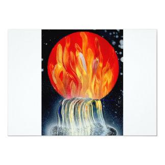 """Pintura a pistola de la llama de la cascada invitación 5"""" x 7"""""""