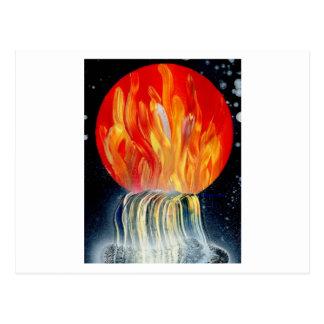 Pintura a pistola de la llama de la cascada postales