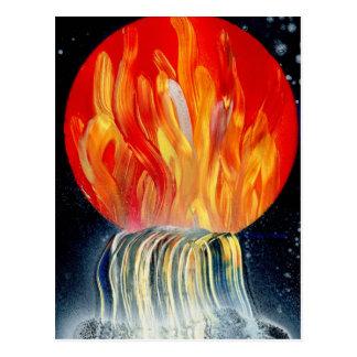 Pintura a pistola de la llama de la cascada tarjetas postales