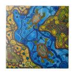 Pintura aborigen de las tortugas azulejo cuadrado pequeño