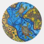 Pintura aborigen de las tortugas pegatinas redondas