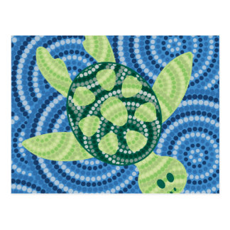 Pintura aborigen del punto de la tortuga tarjetas postales