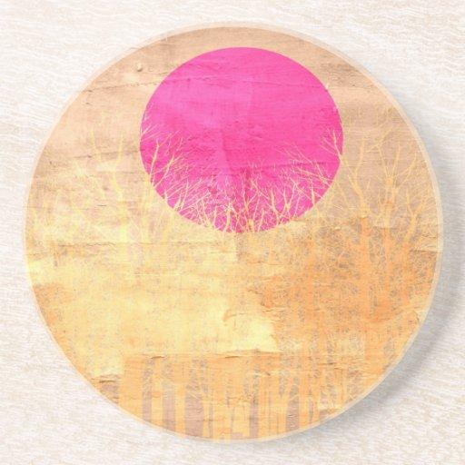 Pintura abstracta 2 de la puesta del sol el | posavasos manualidades
