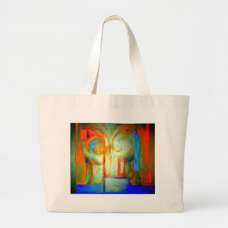 Pintura abstracta A con plata y color Bolsa De Tela Grande