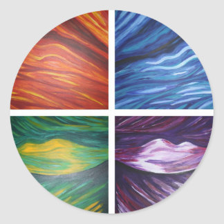 Pintura abstracta acylic de los elementos pegatina redonda
