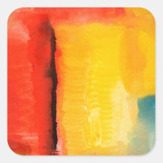 Pintura abstracta amarilla roja moderna pegatina cuadrada