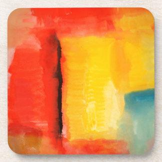 Pintura abstracta amarilla roja moderna posavasos