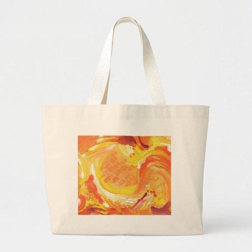 pintura abstracta anaranjada brillante bolsa