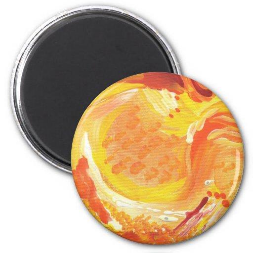 pintura abstracta anaranjada brillante imán de frigorífico