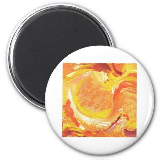 pintura abstracta anaranjada brillante imán redondo 5 cm