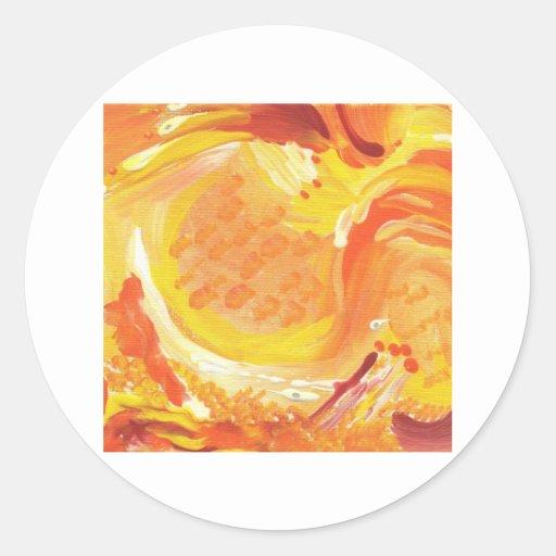 pintura abstracta anaranjada brillante pegatina redonda