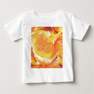pintura abstracta anaranjada brillante polera