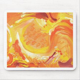 pintura abstracta anaranjada brillante tapete de raton