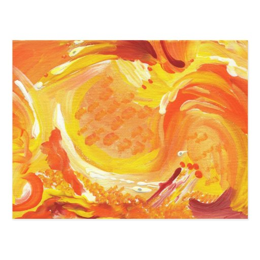 pintura abstracta anaranjada brillante tarjetas postales