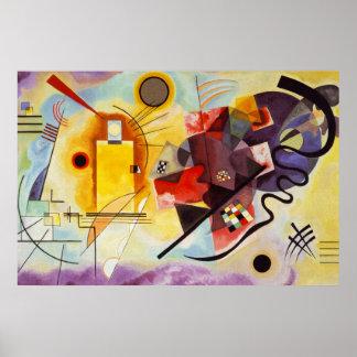Pintura abstracta azul roja amarilla de la lona de póster