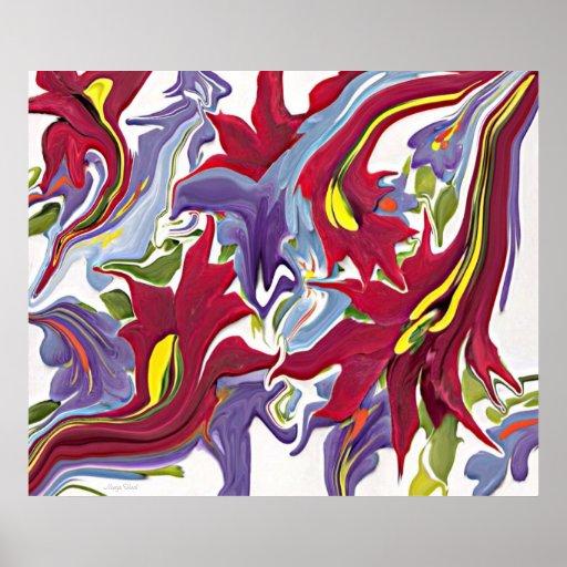 Pintura abstracta blanca y azul roja de la flor impresiones