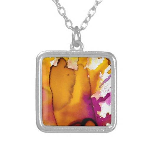 Pintura abstracta colorida de la acuarela colgante cuadrado